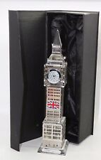 LARGE GOLD/SILVER London Big Ben Clock Souvenier Clock WITH CHANGING LIGHTS GIFT