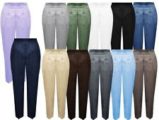 WOMENS LADIES CASUAL HALF ELASTICATED STRETCH WAIST WORK TROUSERS POCKETS PANTS