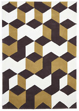 NEW Cube Design Brown/White Rug