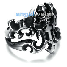 Jewelry Mens Stainless Steel Vintage Fire Holy Cross Sword Ring Biker Size 8 -13