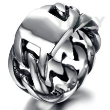 Stainless Steel MOTO Biker Mens Vintage Silver Curb Links Chain Ring Size 8 -13