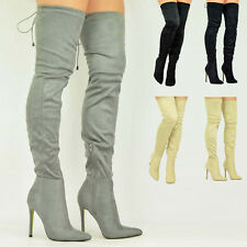 Womens Stiletto Heel Ladies Over The Knee Thigh High Boots Pointed Shoes Size Uk
