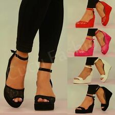 New Womens High Wedge Heel Platforms Ladies Ankle Strap Sandal Shoes Size Uk 3-8