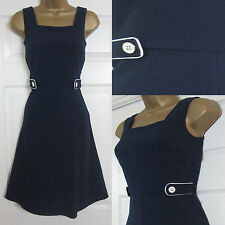NEW EX Dorothy Perkins Ladies Pinafore Fit & Flare Dress Navy Smart Office 6-22