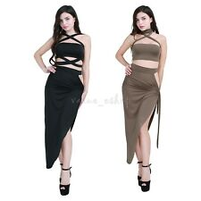 Women Two Piece Bandage Dress Bodycon Halter Dress Cocktail Club Evening Party