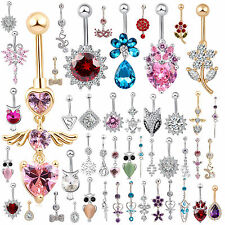 Popular Navel Belly Ring Rhinestone Button Bar Barbell Body Piercing Jewelry BE