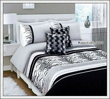 280TC Black White Grey Tiger Skin Embro.* KING / QUEEN 3pc QUILT DOONA COVER SET