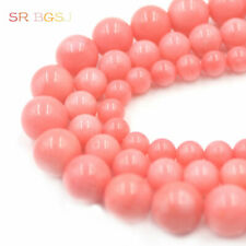 "Natural Round  Pink Sea Bamboo Coral Gemstone Jewelry Beads 15"" 4 6 8 10mm"