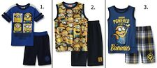 NEW Boys Minion Shirt and Shorts Set Size 4-5-6-8 Despicable Me 2 piece Top/Pant