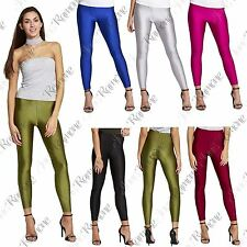 New Womens Shiny American Metallic Wet Look High Waisted Disco Legging PVC Pants