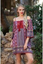 Angie Red & Purple Off-Shoulder Boho Tunic Top Dress with Lace