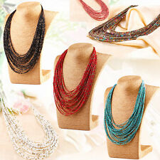 6colors Multi Layer Chain Long Necklace Seed Beads vogue Jewelry Womens