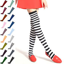 Ladies Stripe Stripy Striped Over The Knee Thigh High Long Socks all Colours