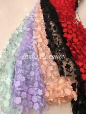 3D Laser Cut Chiffon Flowers Embroidery Allover Lace Fabric Dress Gown 51''/Yard