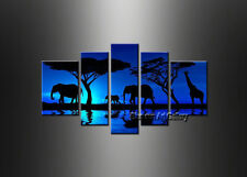 Framed on Canvas Wall Art Modern Contemporary Blue Seascape Oil Painting sea343
