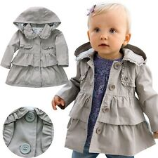 Spring Baby Kid Girl Clothes Outerwear Warm Wind Dust Trench Coat Jacket Fashion