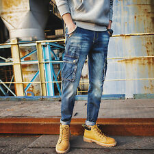 New Jeans Cotton Mens Spring Trousers Cargo Pockets Casual Long Pants Loose Fit