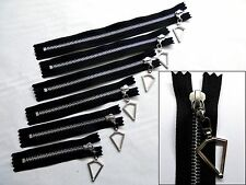 Zip, Zipper, Hanging Diamond Puller, Closed End, Metal, YKK, Black