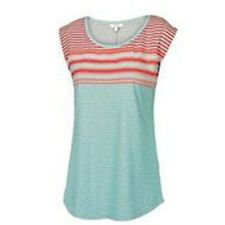 Fat Face Size 8 to 18 Blue Grey Red Stripe Cotton Jersey T-Shirt Top Tunic