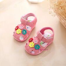 New Baby Girls Toddlers Closed Toe Squeaky Sandals Shoes Sweet Flowers 0-1-2T