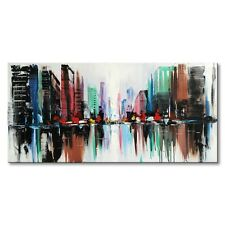 Hand Painted Wall Art Oil Painting on Canvas Modern Color Citys Abstract Framed