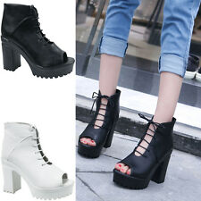 WOMENS LADIES NEW LACE UP BLOCK HIGH HEELS SANDALS ANKLE PLATFORMS SHOES SIZE H