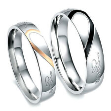 """""""Real Love"""" Heart Couple Promise Engagement Stainless Steel Ring Wedding Band"""