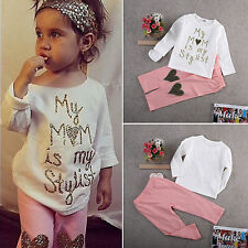 Kids Baby Girls Long Sleeve T-shirt Tops + Pants 2Pcs Set Casual Outfits Clothes