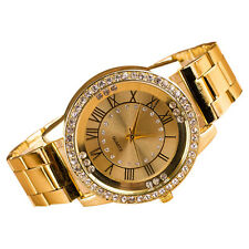Men Women Rhinestone Roman Numerals Alloy Band Round Analog Quartz Watch Popular