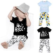 2pcs Newborn Toddler Infant Kids Baby Boy Clothes Print Tops+Pants Outfits Set