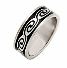 316L Surgical Grade Stainless Steel Ring Black Swirl Design 8mm Wide