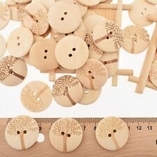 50Pcs DIY Crafts Sewing Wooden Buttons 2 Holes Carved Tree Series