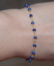 VINTAGE GORGEOUS 14K GOLD FILLED  LAPIS LAZULI LINK BRACELET BRIDESMAID GIFT