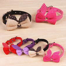 Fad Bowknot Adjustable PU Leather Dog Puppy Pet Cat Collars Necklace Neck Lace
