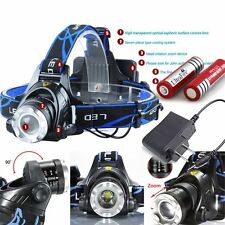 12000LM CREE XM-L T6 LED Headlamp Zoomable HeadLight + 18650 Battery+ Charger US