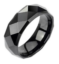 Tungsten Carbide Wedding Band Black Multi Faceted Polish 8mm