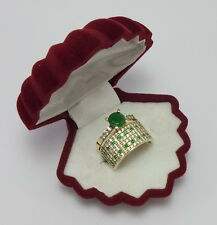 925 SILVER HANDMADE JEWELRY COLOMBIA EMERALD & CZ LADY RING