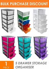 PLASTIC STORAGE SHELF WITH 5 SLIDE-OUT DRAWERS - SHELVES ORGANISER BOXES TUBS