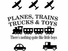 PLANES TRAINS TRUCKS TOYS LITTLE BOYS vinyl wall art sticker nursery playroom