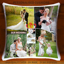 Personalised Wedding Photo Collage Cushion Cover Both Side Printed ❤Custom Print