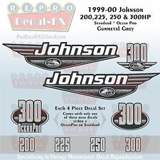 1999-00 Johnson 200 225 250 300 HP OceanPro Gunmetal Grey Outboard Repro Decals
