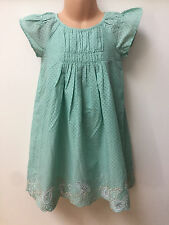 NEW Ex MARKS AND SPENCER GIRLS GREEN SPOTTY DRESS FOR AGES 12 MONTHS TO 7 YEARS