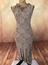 Angie gorgeous vintage style floral brown ruffle long empire Rayon sz M Dress
