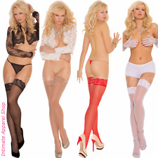 Sheer Lace Top Thigh Hi High Stockings Lingerie OS One Size Regular & Plus Size