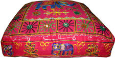 INDIAN VINTAGE EMBROIDER FLOOR CUSHION COVER OTTOMAN SEAT WALL HANGING ART WORK