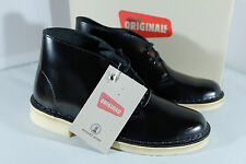 Clarks Originals Boots Black Hi Shine Leather Womens Desert Boots