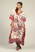 New Floral Kaftan Tunic Holiday Beach Long Dress Cover Up Kushi One Size 12-24