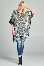 Oddi Plus Size Black & Off White Poncho Tunic Top