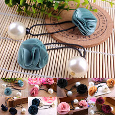 Newly Hot Products Hair Band Rope Girls Pearl Flower Fashion Ponytail Holder
