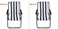 Outdoor Camping Deck Chairs Metal Garden Beach Picnic Folding Set 2/4 Armchairs